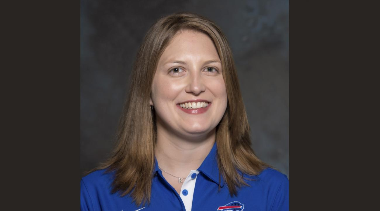 FILE - A May 2015 photo shows Kathryn Smith of the Buffalo Bills NFL football team. The Bills promoted Smith to be their special teams quality control coach, making her the first full-time female member of an NFL coaching staff. The team announced the mov