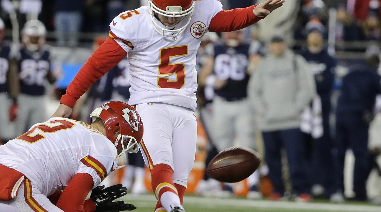 FILE - In this Saturday, Jan. 16, 2016 file photo, Kansas City Chiefs kicker Cairo Santos (5) kicks a field goal against the New England Patriots in the first half of an NFL divisional playoff football game in Foxborough, Mass. A Massachusetts State Polic