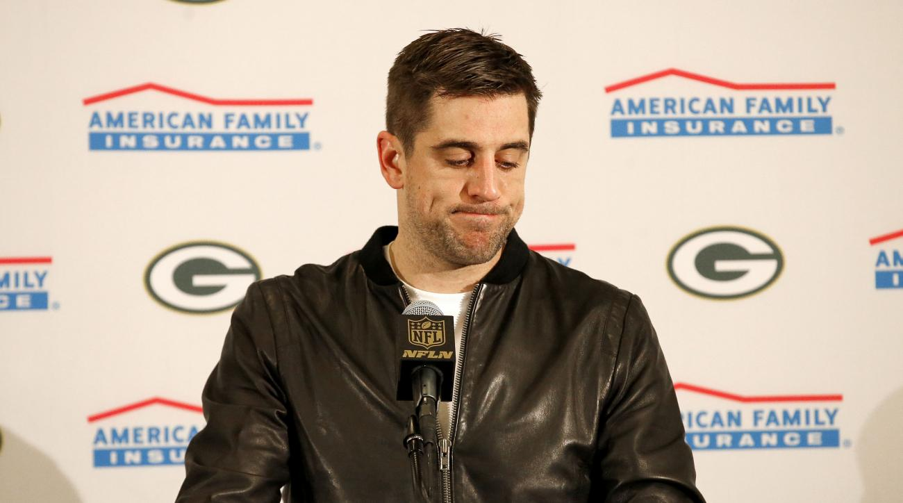 FILE - In this Jan. 16, 2016, file photo, Green Bay Packers quarterback Aaron Rodgers speaks during a news conference after an NFL divisional playoff football game against the Arizona Cardinals, in Glendale, Ariz. Aaron Rodgers never touched the ball in o