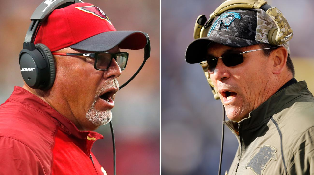 FILE - These are 2015 file photos showing Arizona Cardinals head coach Bruce Arians, left, and Carolina Panthers head coach Ron Rivera, right. Carolina and Arizona will meet in the NFC Championship game on Sunday, Jan. 24, 2016, in Charlotte, N.C. (AP Pho