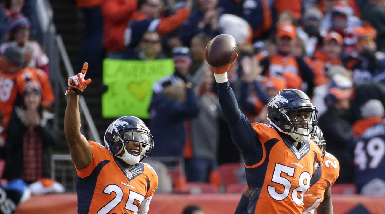 Denver Broncos outside linebacker Von Miller (58) celebrates after intercepting a pass from New England Patriots quarterback Tom Brady during the first half the NFL football AFC Championship game between the Denver Broncos and the New England Patriots, Su
