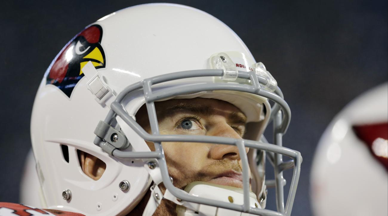 Arizona Cardinals' Carson Palmer watches from the bench during the second half the NFL football NFC Championship game against the Carolina Panthers, Sunday, Jan. 24, 2016, in Charlotte, N.C. (AP Photo/David J. Phillip)