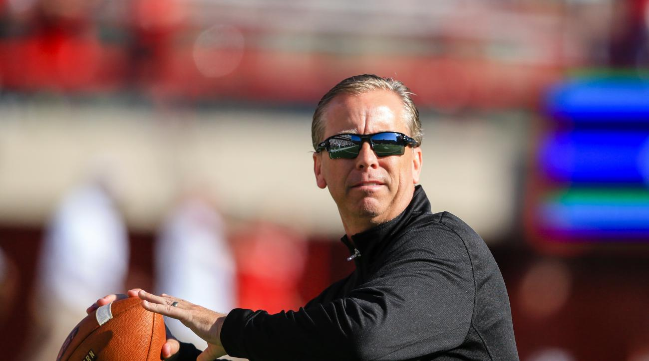 Southern Miss head coach Todd Monken throws a ball before an NCAA college football game against Nebraska in Lincoln, Neb., Saturday, Sept. 26, 2015. (AP Photo/Nati Harnik)