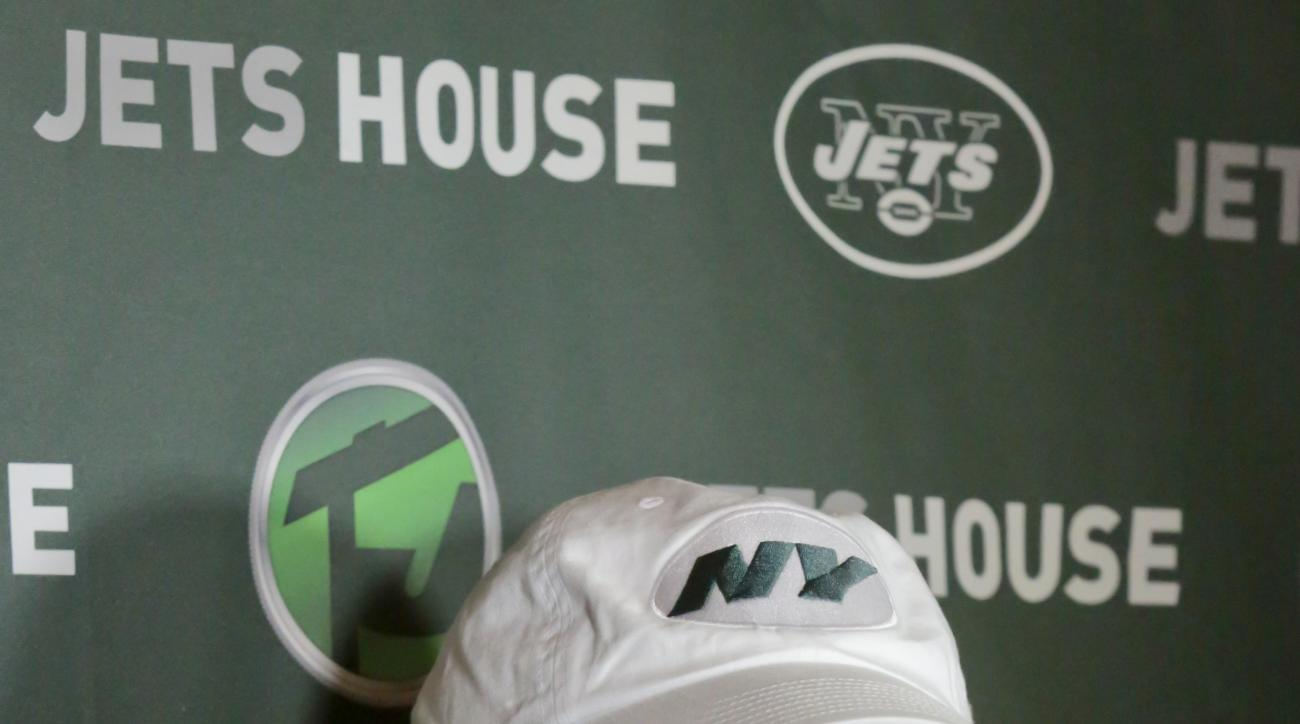 New York Jets owner Woody Johnson holds a news conference before attending Jets House, a public meet and greet with Jets personnel, on Friday, Jan. 29, 2016, in New York. (AP Photo/Bebeto Matthews)
