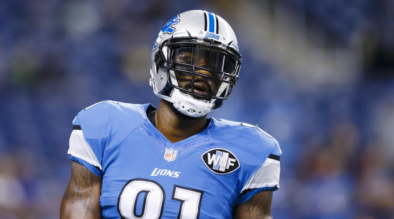 FILE - In this Sunday, Dec. 27, 2015 file photo, Detroit Lions wide receiver Calvin Johnson (81) warms up before an NFL football game against the San Francisco 49ers at Ford Field in Detroit. The Detroit Lions are still giving Johnson time to ponder his f