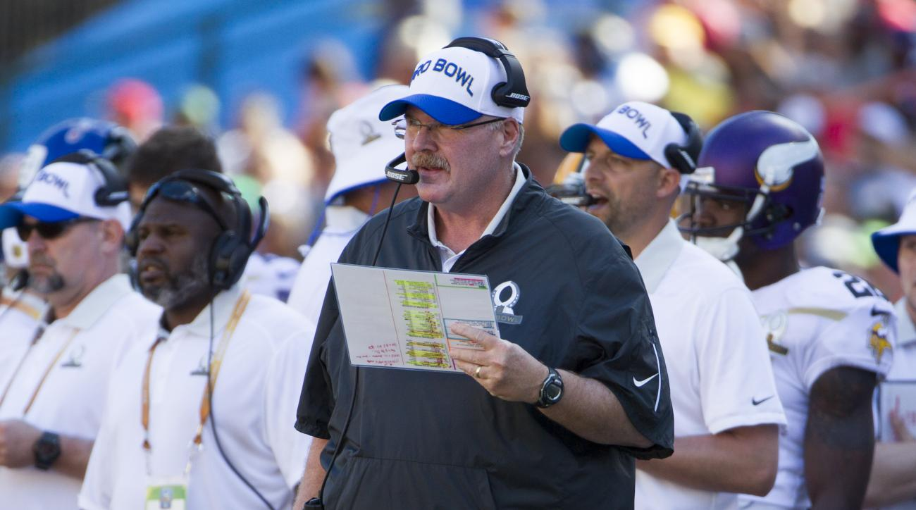 Kansas City Chiefs head coach Andy Reid of Team Rice looks on during a play in the second quarter of the NFL Pro Bowl football game, Sunday, Jan. 31, 2016, in Honolulu. (AP Photo/Eugene Tanner)