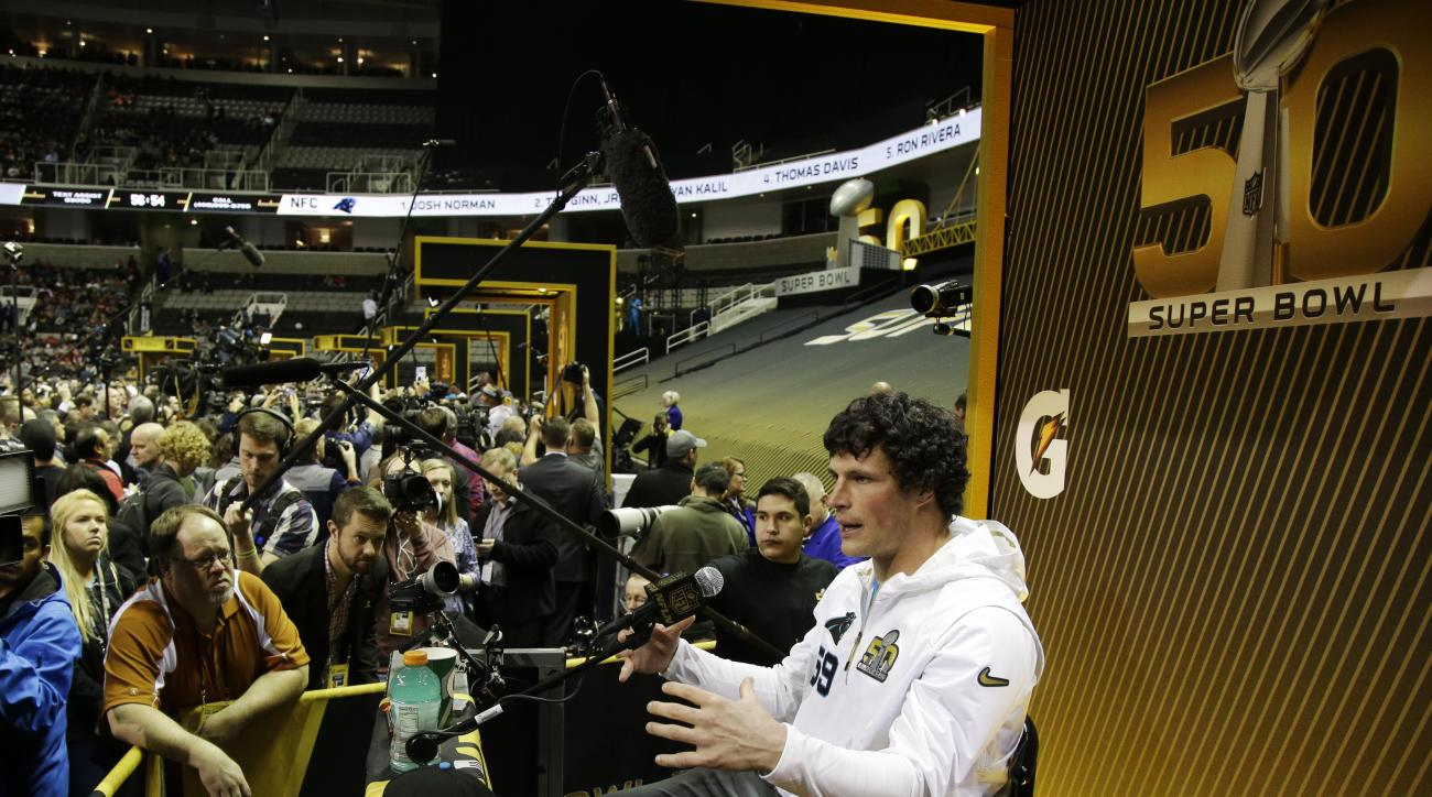 Carolina Panthers middle linebacker Luke Kuechly speaks to reporters during Opening Night for the NFL Super Bowl 50 football game Monday, Feb. 1, 2016, in San Jose, Calif. (AP Photo/Marcio Jose Sanchez)