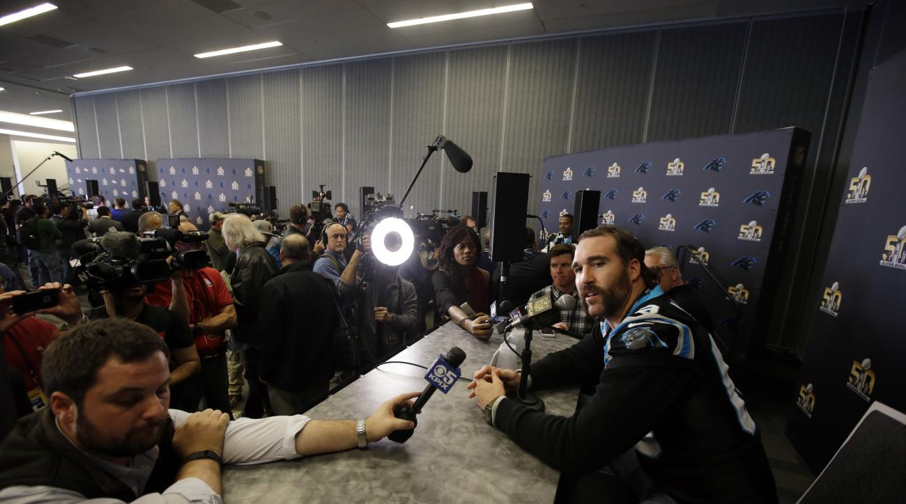 Carolina Panthers defensive end Jared Allen answers questions during a press conference Tuesday, Feb. 2, 2016 in San Jose, Calif. Carolina plays the Denver Broncos in the NFL Super Bowl 50 football game Sunday, Feb. 7, 2015, in Santa Clara, Calif. (AP Pho