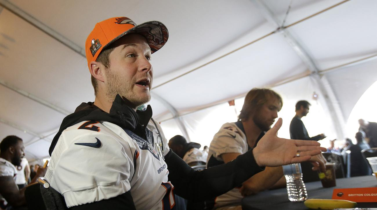 Denver Broncos punter Britton Colquitt speaks to reporters in Santa Clara, Calif., Wednesday, Feb. 3, 2016. The Denver Broncos will play the Carolina Panthers in Super Bowl 50 Sunday, Feb. 7, 2016. (AP Photo/Jeff Chiu)