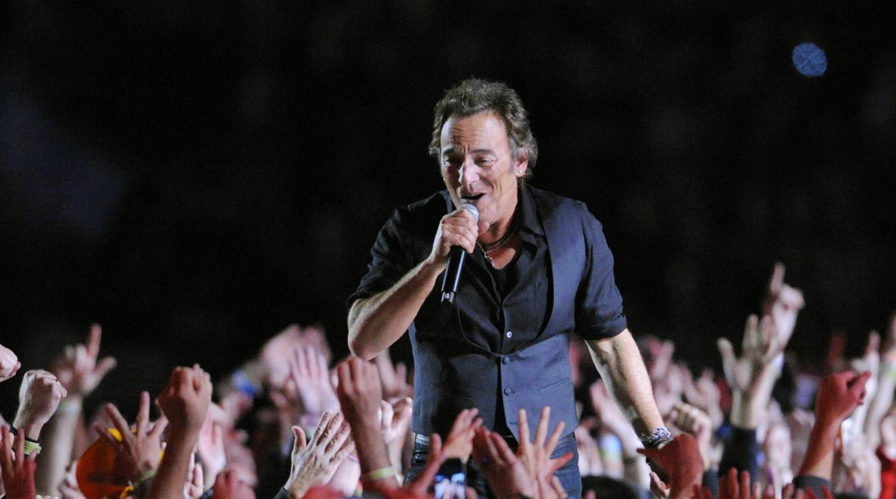 FILE - In this Feb. 1, 2009 file photo, Bruce Springsteen performs during halftime of the NFL Super Bowl XLIII football game between the Arizona Cardinals and the Pittsburgh Steelers in Tampa, Fla. The halftime show has become one of the year's top cultur