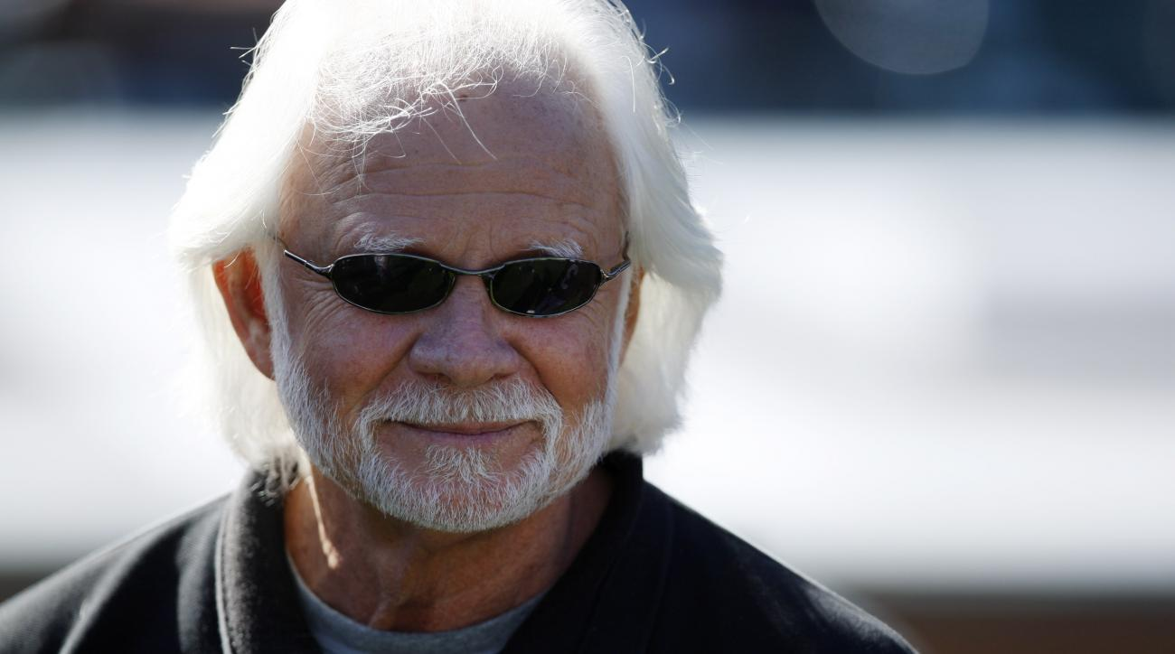 FILE - In this Oct. 25, 2009, file photo, former Oakland Raiders quarteback Ken Stabler watches during pregame of an NFL game between the New York Jets and the Raiders in Oakland, Calif.  Stabler, the late NFL MVP and Super Bowl winner who is a finalist f