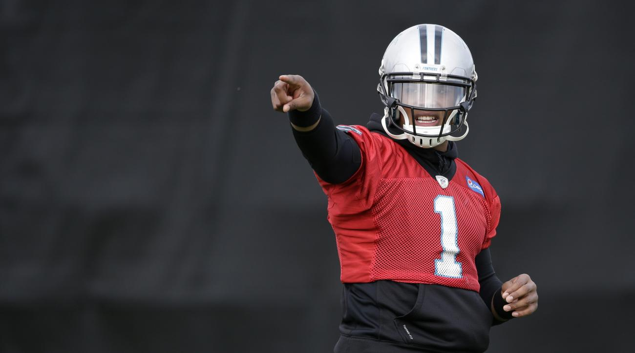 Carolina Panthers quarterback Cam Newton (1) directs receivers during practice Wednesday, Feb. 3, 2016 in San Jose, Calif. Carolina plays the Denver Broncos in the NFL Super Bowl 50 football game Sunday, Feb. 7, 2015, in Santa Clara, Calif. (AP Photo/Marc
