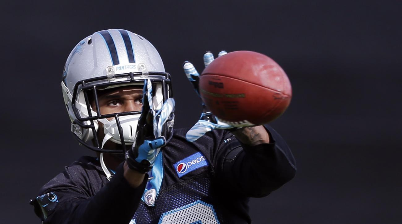 Carolina Panthers wide receiver Corey Brown (10) makes a catch during practice Wednesday, Feb. 3, 2016 in San Jose, Calif. Carolina plays the Denver Broncos in the NFL Super Bowl 50 football game Sunday, Feb. 7, 2015, in Santa Clara, Calif. (AP Photo/Marc