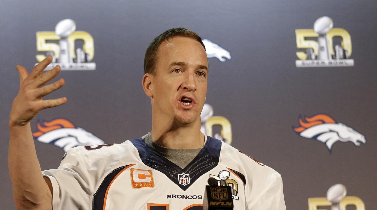 Denver Broncos quarterback Peyton Manning speaks to reporters in Santa Clara, Calif., Thursday, Feb. 4, 2016. (AP Photo/Jeff Chiu)
