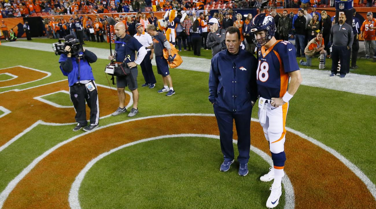 FILE - In this Nov. 1, 2015, file photo, Denver Broncos quarterback Peyton Manning talks with head coach Gary Kubiak  before an NFL football game against the Green Bay Packers in Denver. (AP Photo/Jack Dempse. File)