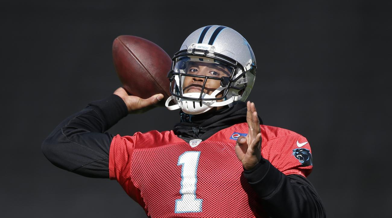 Carolina Panthers quarterback Cam Newton throws during practice in preparation for the Super Bowl 50 football game Thursday Feb. 4, 2016 in San Jose, Calif. (AP Photo/Marcio Jose Sanchez)