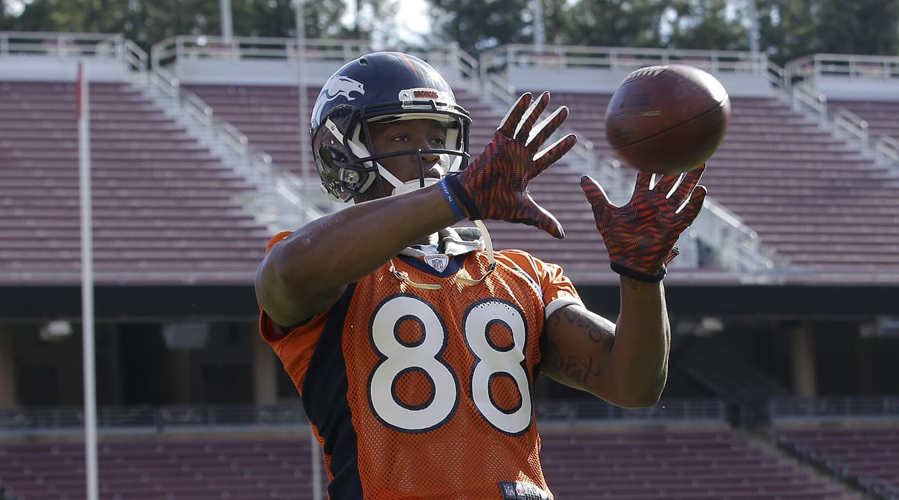 Denver Broncos wide receiver Demaryius Thomas (88) catches a ball during an NFL football practice in Stanford, Calif., Thursday, Feb. 4, 2016. (AP Photo/Jeff Chiu)