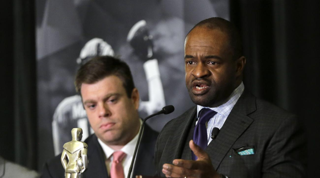 NFL Players Association Executive Director DeMaurice Smith speaks during a news conference Thursday, Feb. 4, 2016, in San Francisco. (AP Photo/David J. Phillip)