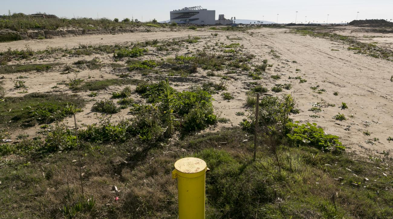 This Wednesday, Feb. 3, 2016 photo shows a 50-yard marker for the proposed NFL Rams stadium complex site at Hollywood Park in Inglewood, Calif. The largest contiguous block of unoccupied land in the Los Angeles area will be the site of Rams owner Stan Kro