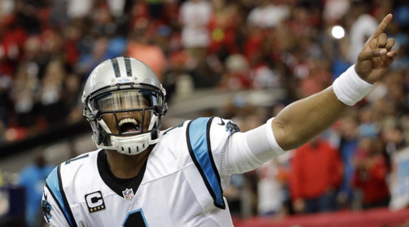 FILE - In this Dec. 27, 2015, file photo, Carolina Panthers quarterback Cam Newton celebrates his touchdown against the Atlanta Falcons during an NFL football game in Atlanta. Newton's spectacular season has earned him The Associated Press NFL Offensive P