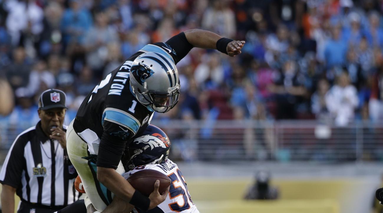 Denver Broncos' Von Miller (58) tackles Carolina Panthers' Cam Newton (1) on a run during the first half of the NFL Super Bowl 50 football game Sunday, Feb. 7, 2016, in Santa Clara, Calif. (AP Photo/Marcio Jose Sanchez)