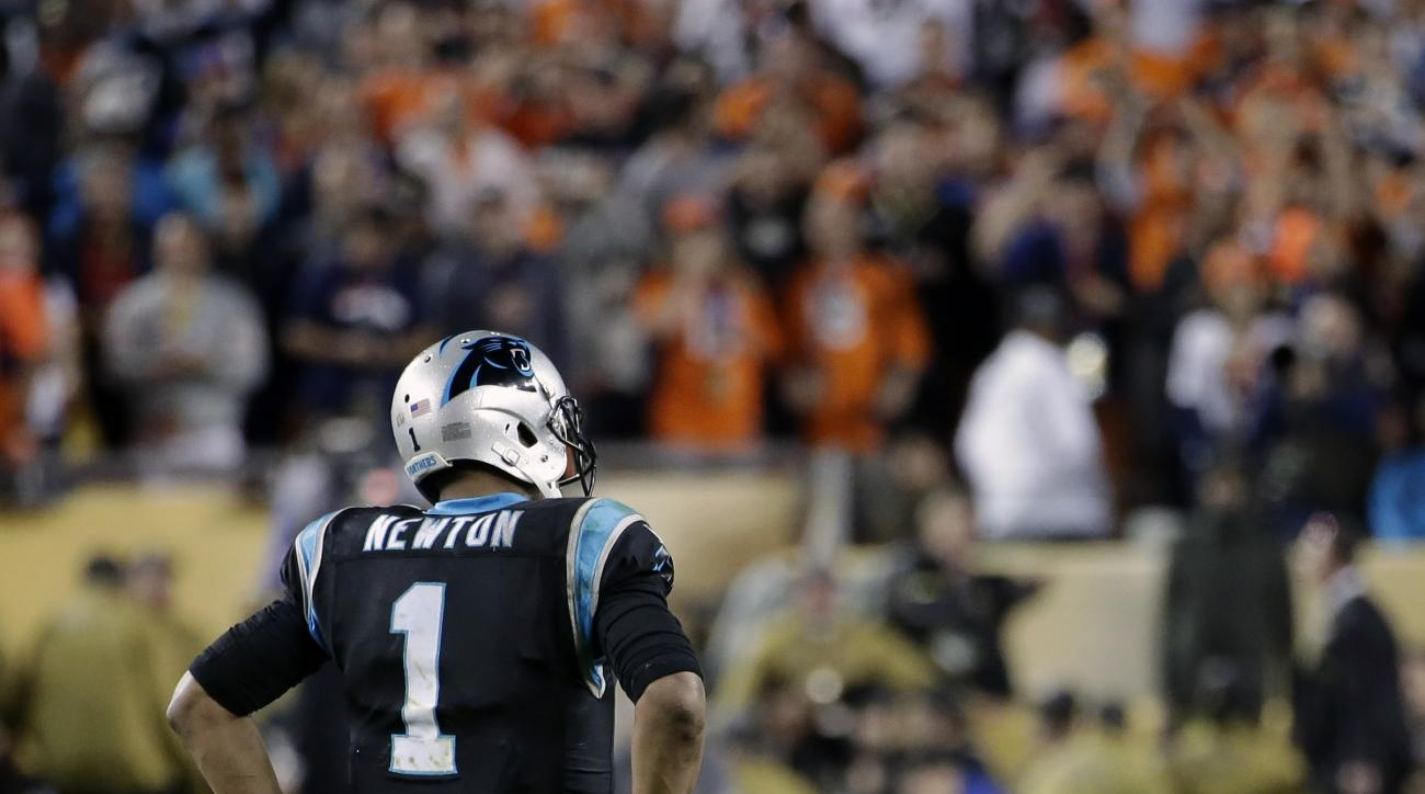 Carolina Panthers' Cam Newton (1) hangs his head during the second half of the NFL Super Bowl 50 football game Sunday, Feb. 7, 2016, in Santa Clara, Calif. (AP Photo/Matt York)
