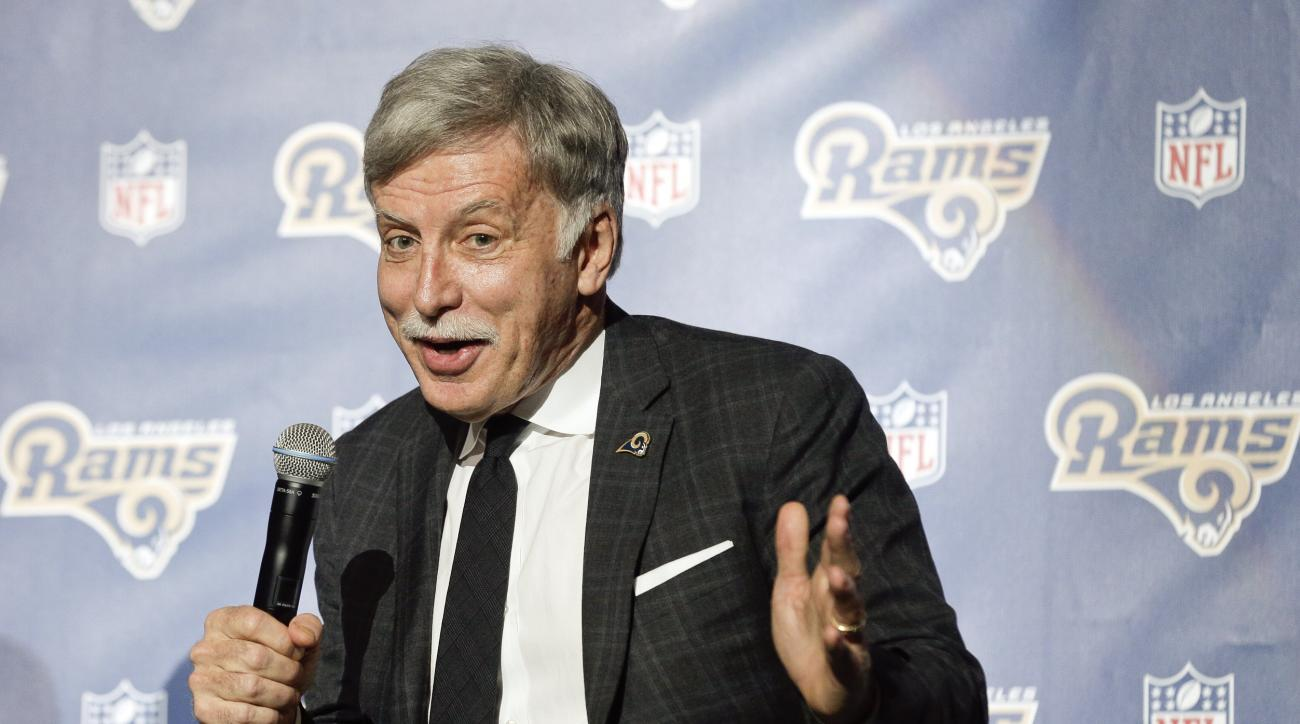 FILE - In this Jan. 15, 2016, file photo, St. Louis Rams owner Stan Kroenke takes questions from the media during an NFL football news conference at The Forum in Inglewood, Calif.   The heirs of cattle baron W.T. Waggoner said, Tuesday, Feb. 9, 2016, that