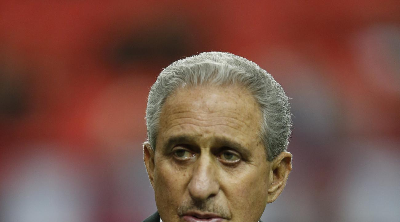 Atlanta Falcons owner Arthur Blank watches teams warm up before the first half of an NFL football game between the Atlanta Falcons and the New Orleans Saints, Sunday, Jan. 3, 2016, in Atlanta. (AP Photo/Butch Dill)