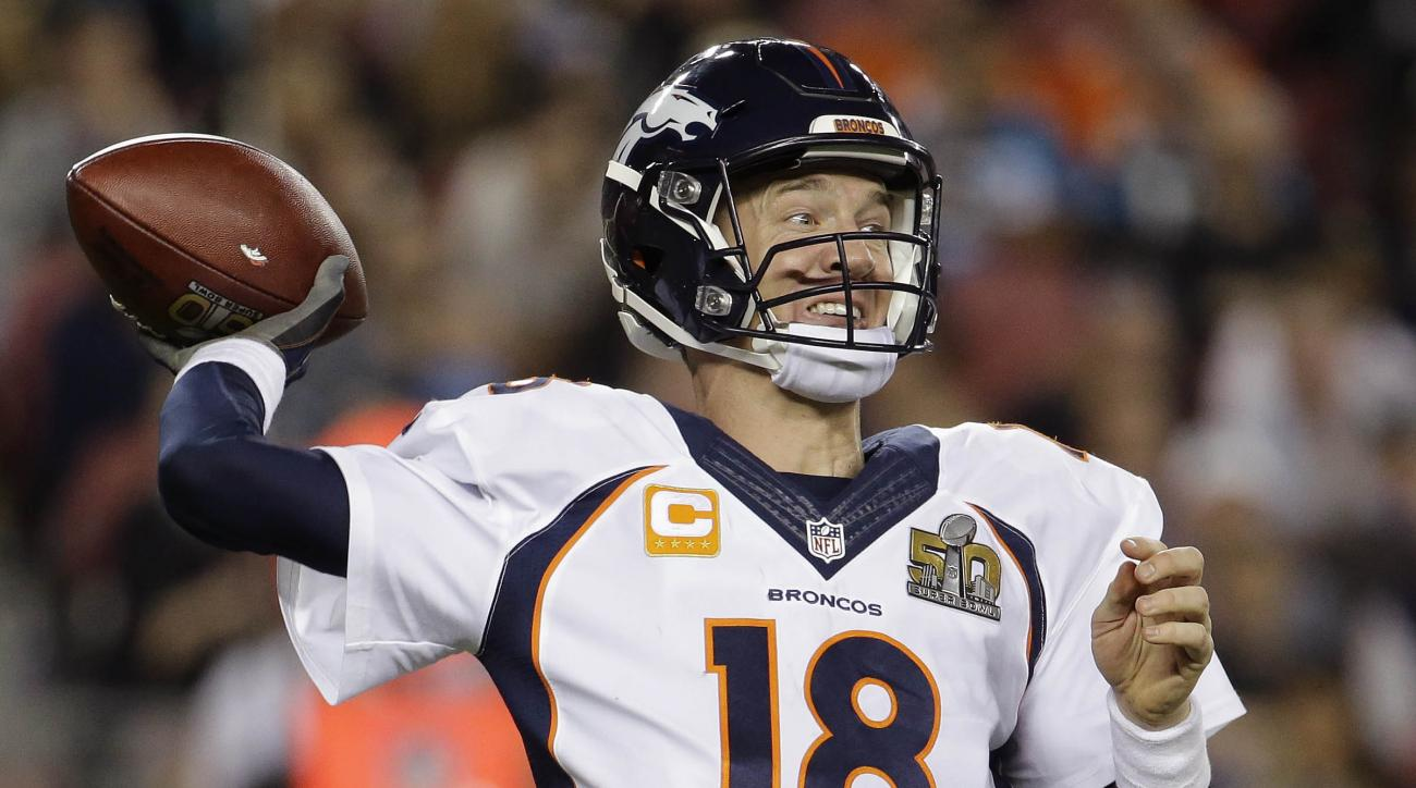 FILE - In this Sunday, Feb. 7, 2016 file photo, Denver Broncos' Peyton Manning (18) passes against the Carolina Panthers during the second half of the NFL Super Bowl 50 football game in Santa Clara, Calif. Denver Broncos quarterback Peyton Manning is ment