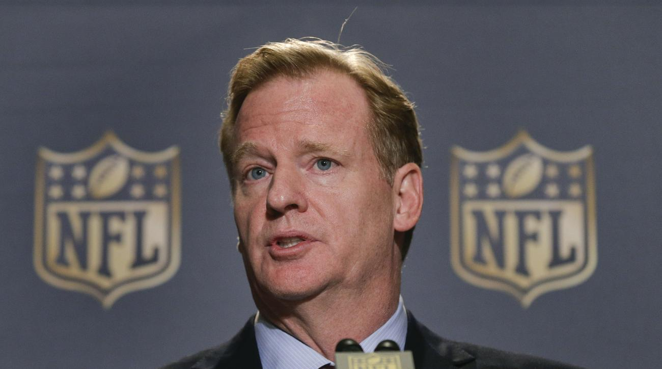 FILE - In this Oct. 7, 2015, file photo, NFL Commissioner Roger Goodell speaks during a news conference at the conclusion of the league's fall meetings, in New York.  Roger Goodell earned just over $34 million for 2014, according to the league's tax filin