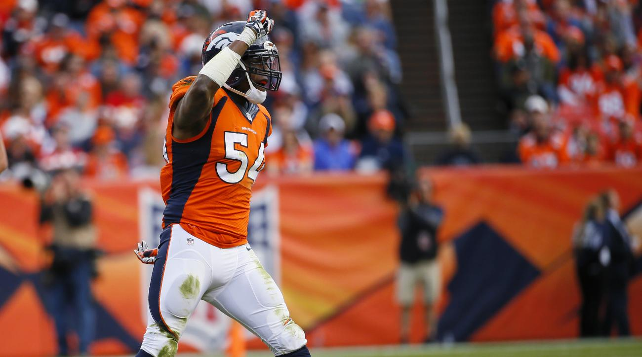 FILE - In this Nov. 15, 2015, file photo, Denver Broncos inside linebacker Brandon Marshall celebrates a stop during the Broncos' NFL football game against the Kansas City Chiefs in Denver. Marshall had screws removed from his right foot on Friday, Feb. 1