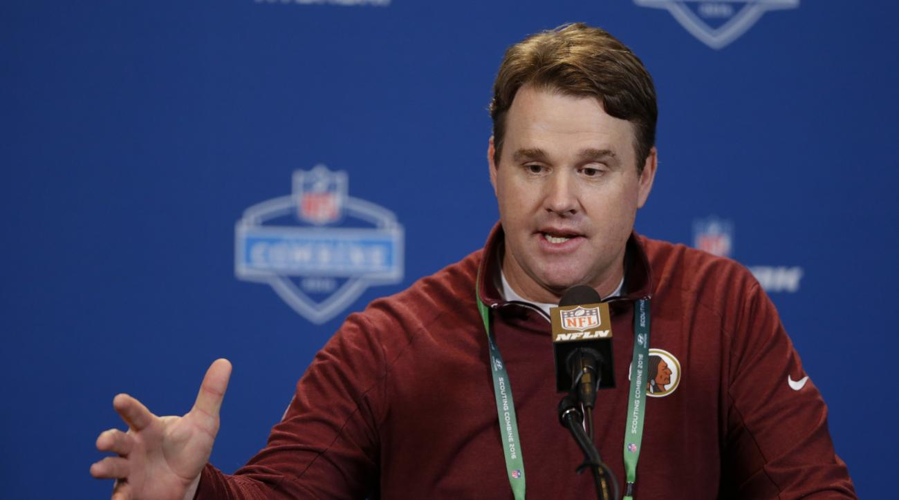 Washington Redskins head coach Jay Gruden speaks during a press conference at the NFL football scouting combine in Indianapolis, Wednesday, Feb. 24, 2016. (AP Photo/Michael Conroy)