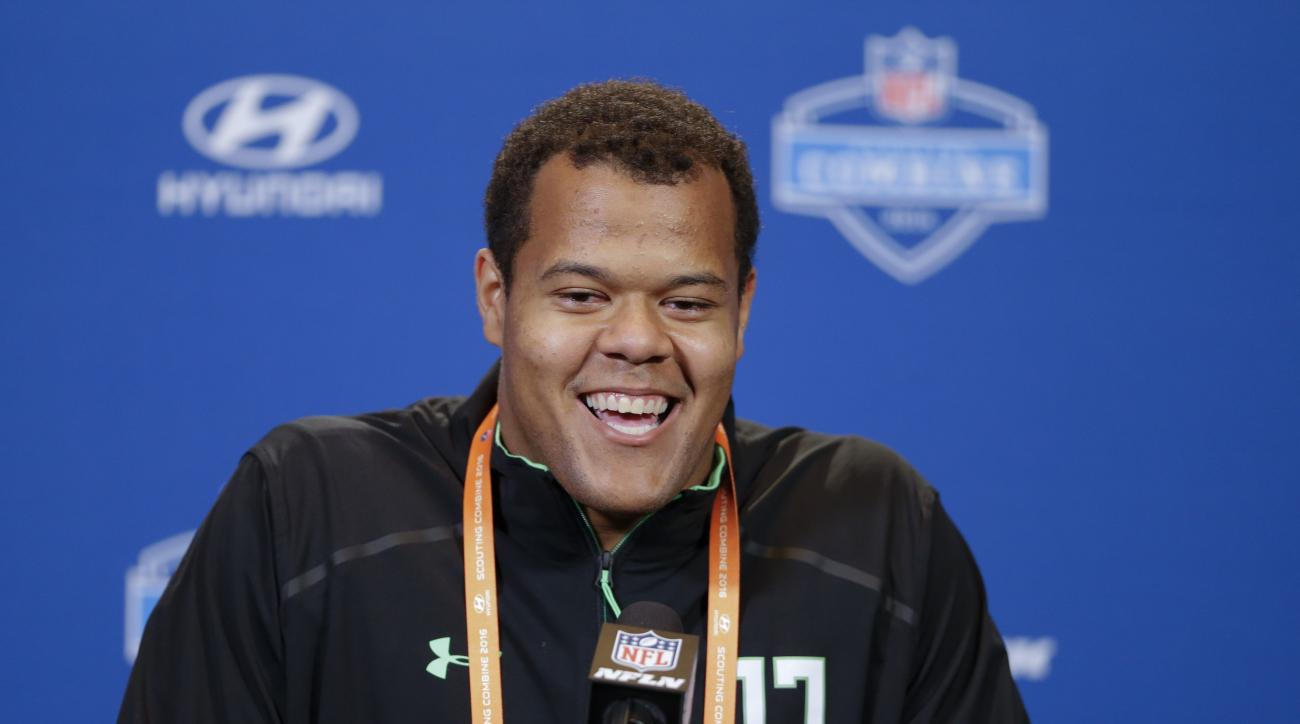 Stanford offensive lineman Joshua Garnett speaks during a press conference at the NFL football scouting combine in Indianapolis, Wednesday, Feb. 24, 2016. (AP Photo/Michael Conroy)