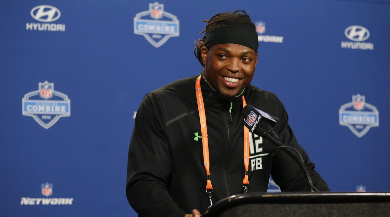 Alabama running back Derrick Henry speaks during a press conference at the NFL football scouting combine in Indianapolis, Wednesday, Feb. 24, 2016. (AP Photo/Michael Conroy)