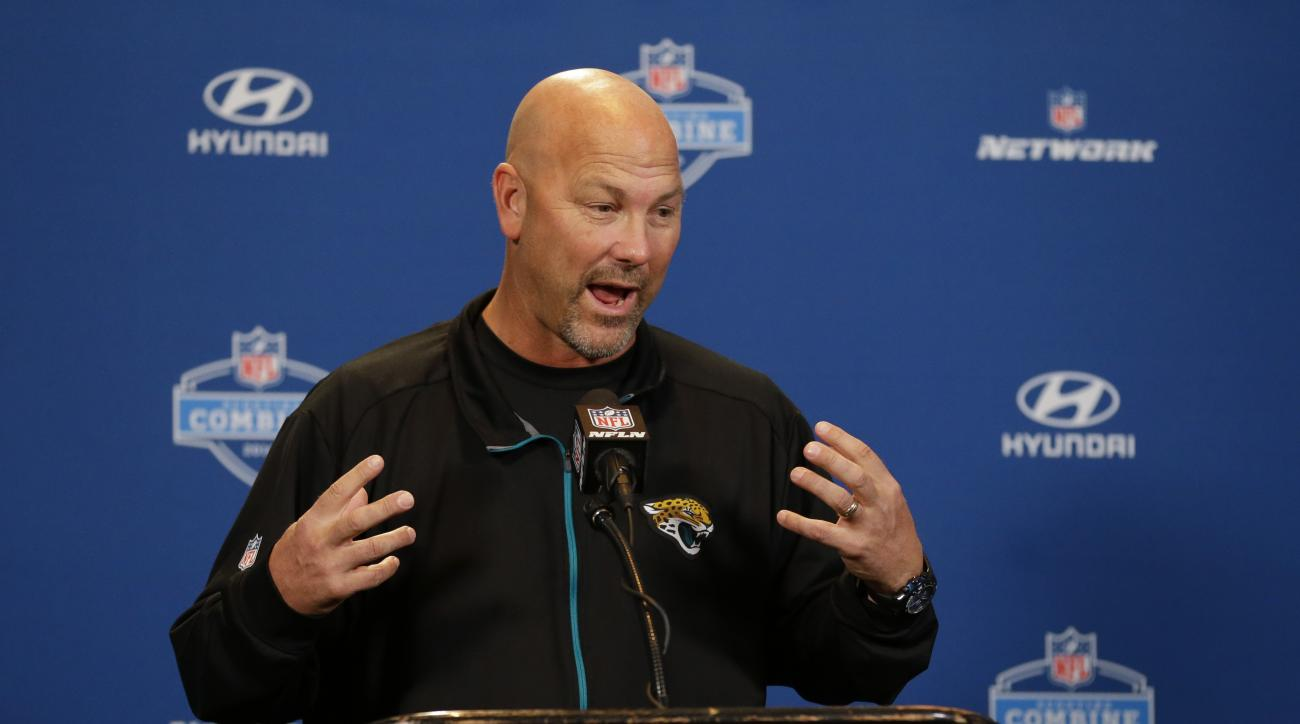 Jacksonville Jaguars head coach Gus Bradley speaks during a press conference at the NFL football scouting combine in Indianapolis, Thursday, Feb. 25, 2016. (AP Photo/Michael Conroy)