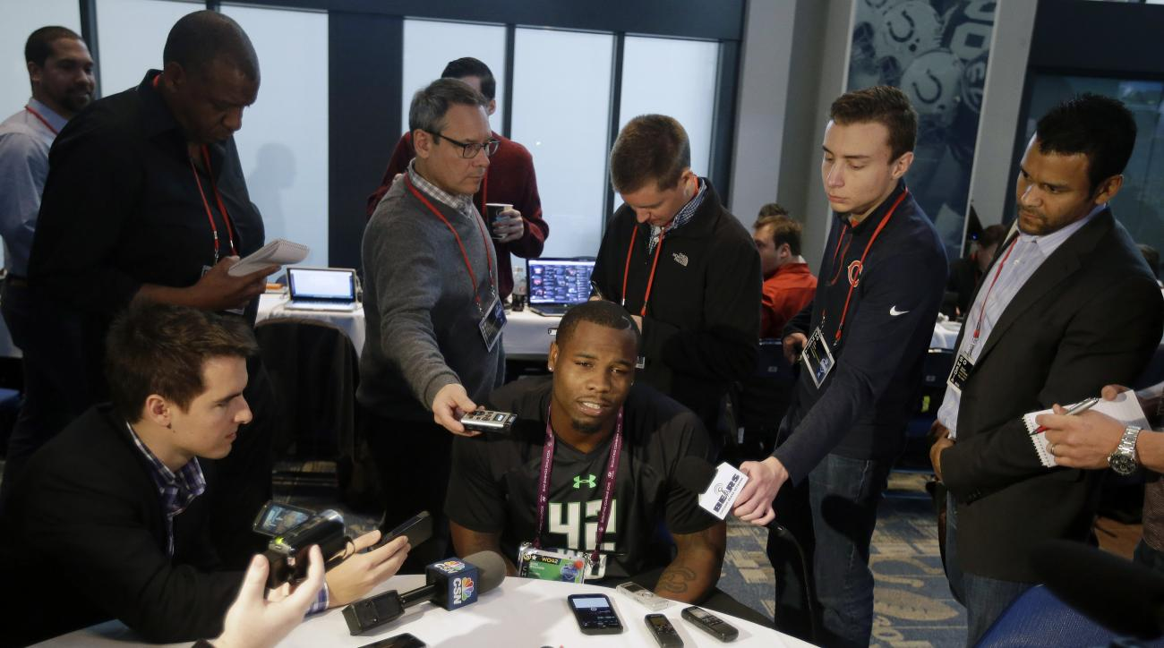 Auburn receiver Duke Williams responds to a question during a news conference at the NFL football scouting combine Thursday, Feb. 25, 2016, in Indianapolis. (AP Photo/Darron Cummings)