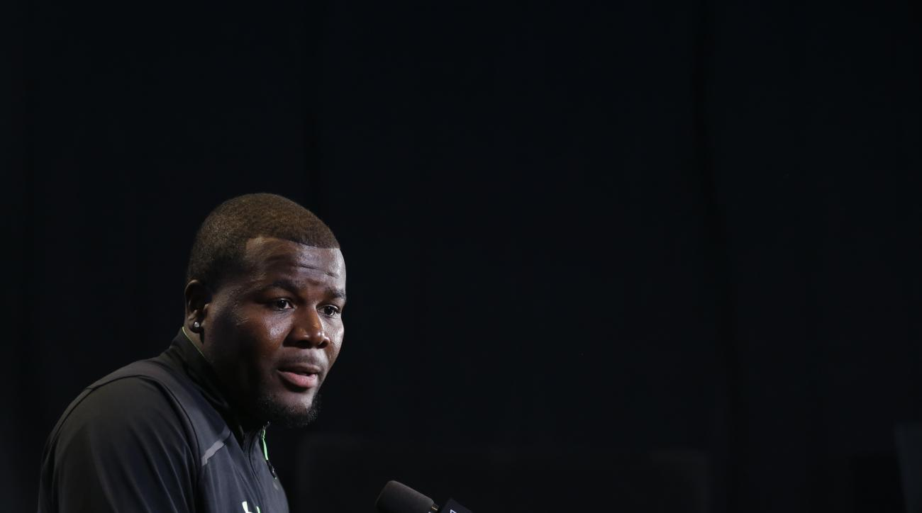 Ohio St. quarterback Cardale Jones speaks during a press conference at the NFL football scouting combine in Indianapolis, Thursday, Feb. 25, 2016. (AP Photo/Michael Conroy)