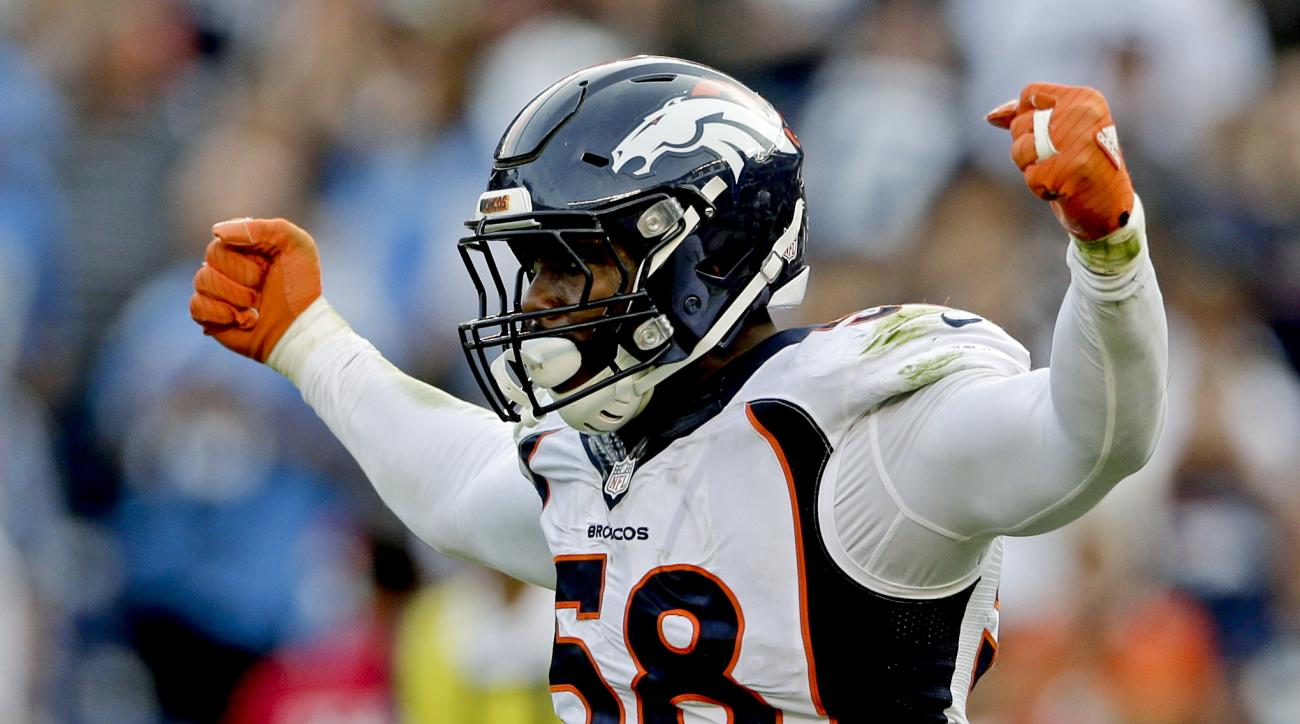 FILE - In this Sunday, Dec. 6, 2015, file photo, Denver Broncos outside linebacker Von Miller celebrates a sack against the San Diego Chargers during the second half of an NFL football game in San Diego. The NFL's salary cap for 2016 will be $155.27 milli