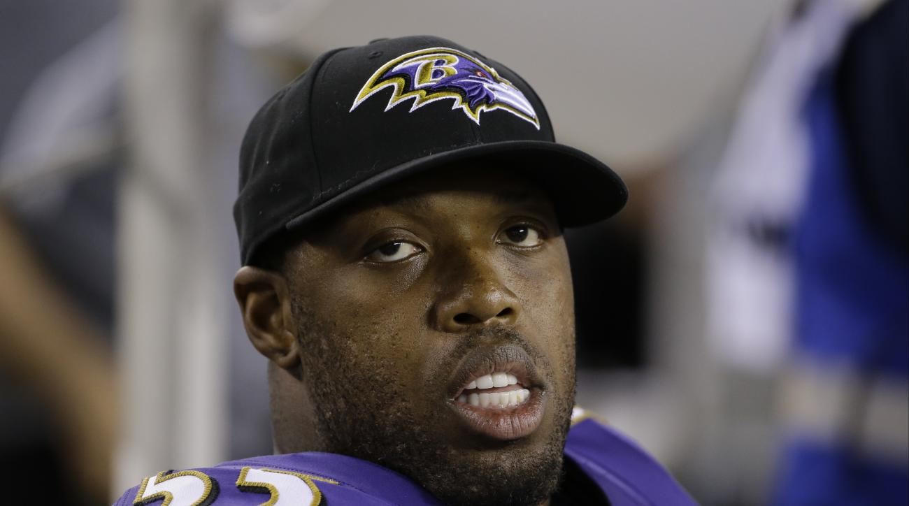 Baltimore Ravens' Terrell Suggs sits on the bench during the second half of a preseason NFL football game against the Philadelphia Eagles, Saturday, Aug. 22, 2015, in Philadelphia. (AP Photo/Matt Rourke)