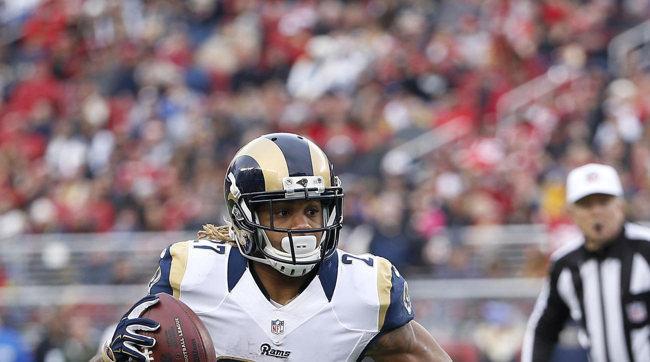 St. Louis Rams running back Tre Mason (27) against the San Francisco 49ers during an NFL football game in Santa Clara, Calif., Sunday, Jan. 3, 2016. (AP Photo/Tony Avelar)