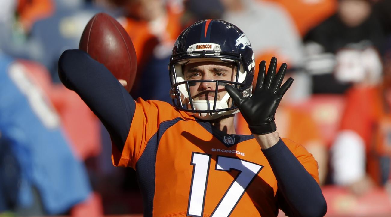 FILE - In this Jan. 3, 2016, file photo, Denver Broncos quarterback Brock Osweiler warms up before an NFL football game against the San Diego Chargers in Denver. Now that the Broncos have bid farewell to quarterback Peyton Manning, who retired on Monday,