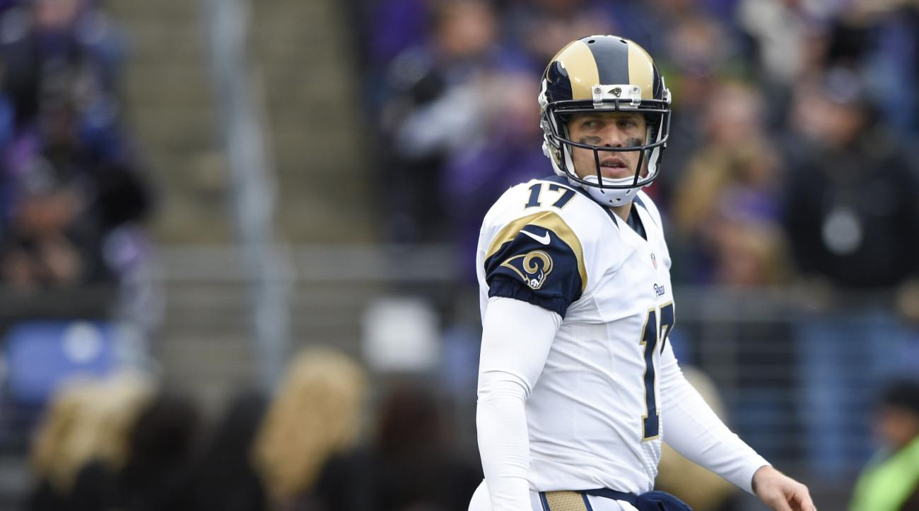 FILE - In this Nov. 22, 2015, file photo, St. Louis Rams quarterback Case Keenum (17) looks back over this shoulder during the team's NFL football game against the Baltimore Ravens in Baltimore. The Rams extended a qualifying offer Wednesday, March 9, 201