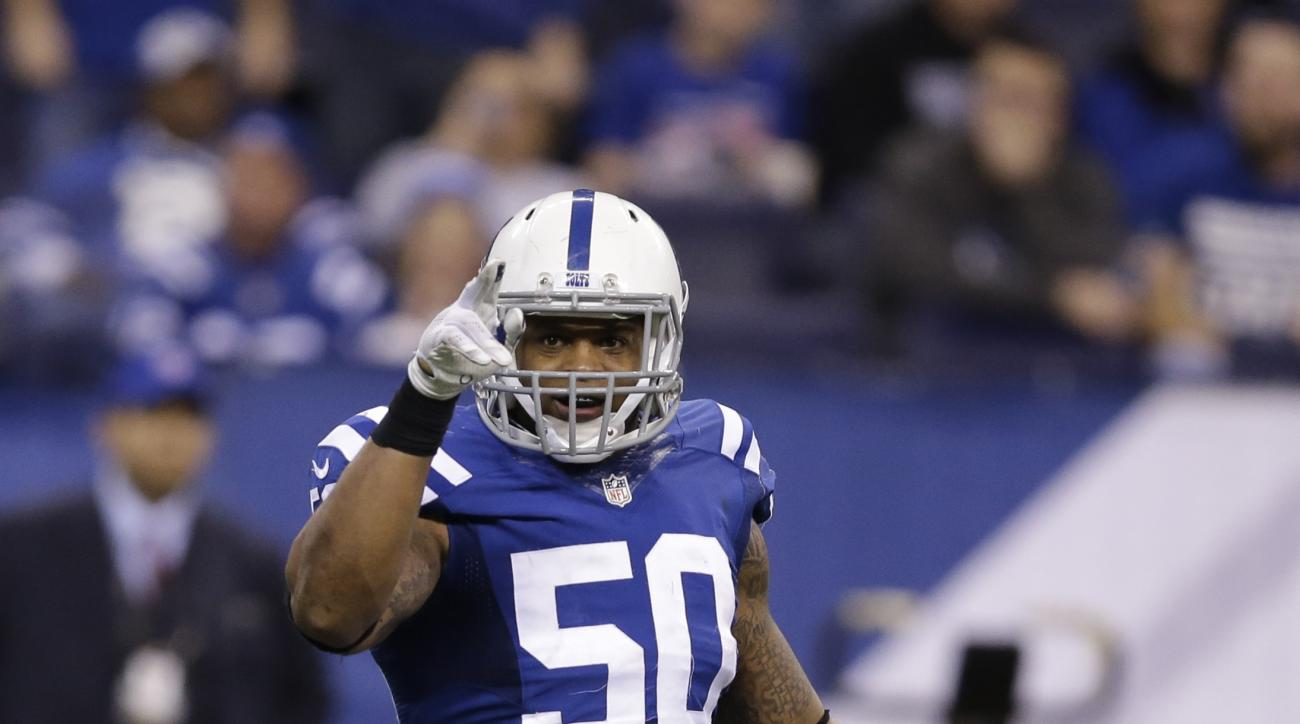 Indianapolis Colts inside linebacker Jerrell Freeman (50) celebrates a sack against the Tennessee Titans during the second half of an NFL football game in Indianapolis, Sunday, Jan. 3, 2016. The Colts defeat the Titans 30-24. (AP Photo/Darron Cummings)