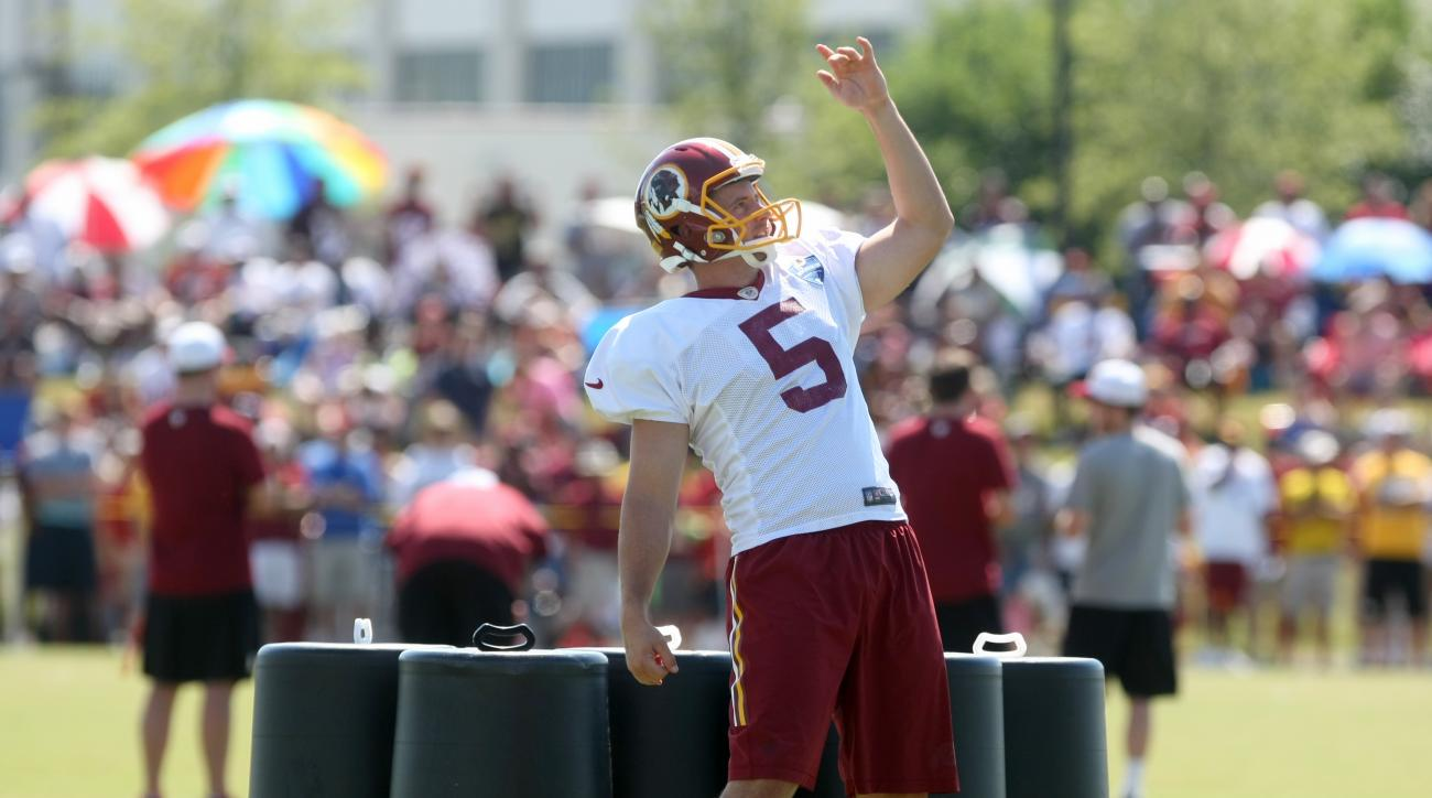 FILE - In this Aug. 1, 2015 file photo, Washington Redskins punter Tress Way practices kicking during the teams NFL football training camp in Richmond, Va. The Washington Redskins have signed Way to a five-year contract extension. Way has been the Redskin