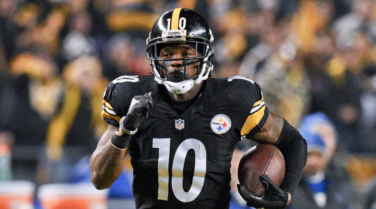 FILE - In this Dec. 6, 2015, file photo, Pittsburgh Steelers wide receiver Martavis Bryant (10) runs for a touchdown against the Indianapolis Colts in an NFL football game in Pittsburgh. Bryant is facing a one-year suspension from the NFL for violating th