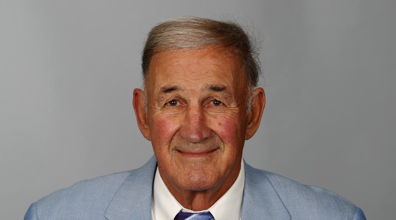 FILE - This is a 2014 file photo showing Monte Kiffin of the Dallas Cowboys NFL football team. The Jacksonville Jaguars have hired 76-year-old Monte Kiffin as a defensive assistant. Kiffin is entering his 50th year of coaching, with 28 years of NFL experi