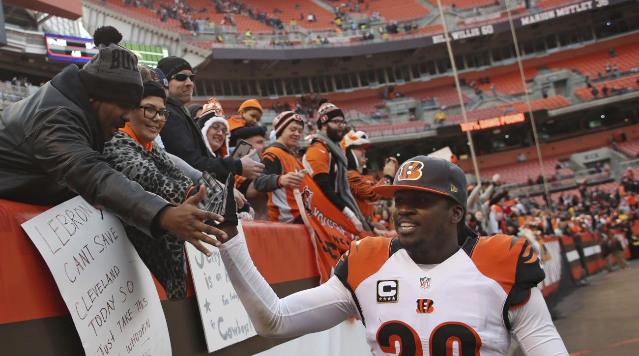 FILE - In this Dec. 6, 2015, file photo, Cincinnati Bengals free safety Reggie Nelson (20) is congratulated after an NFL football game against the Cleveland Browns, in Cleveland. The Oakland Raiders signed free-agent safety Reggie Nelson on Thursday, Apri