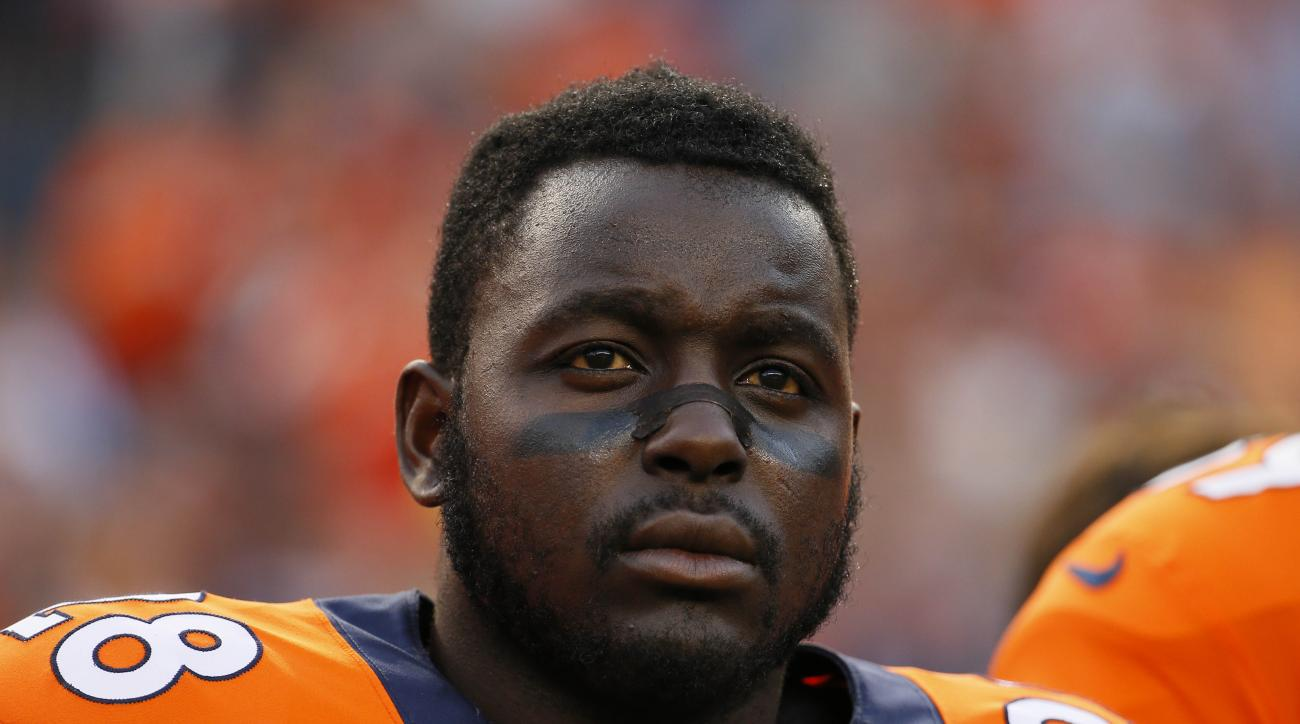 Denver Broncos running back Montee Ball (28) stands on the sidelines prior to an NFL preseason football game against the San Francisco 49ers, Saturday, Aug. 29, 2015, in Denver. (AP Photo/Jack Dempsey)