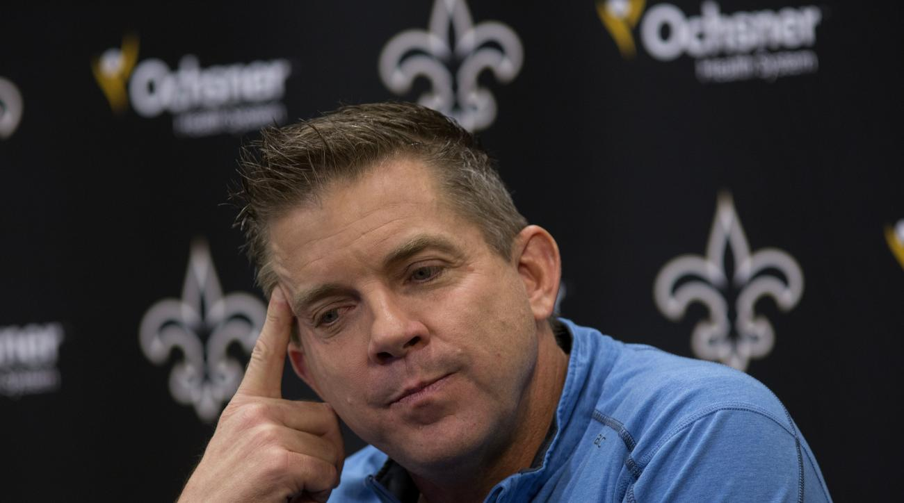 New Orleans Saints head coach Sean Payton speaks during a news conference at the NFL football training facility in Metairie, La., Wednesday, Jan. 6, 2016. Payton talked about his continued commitment to the Saints during the news conference. (AP Photo/Max