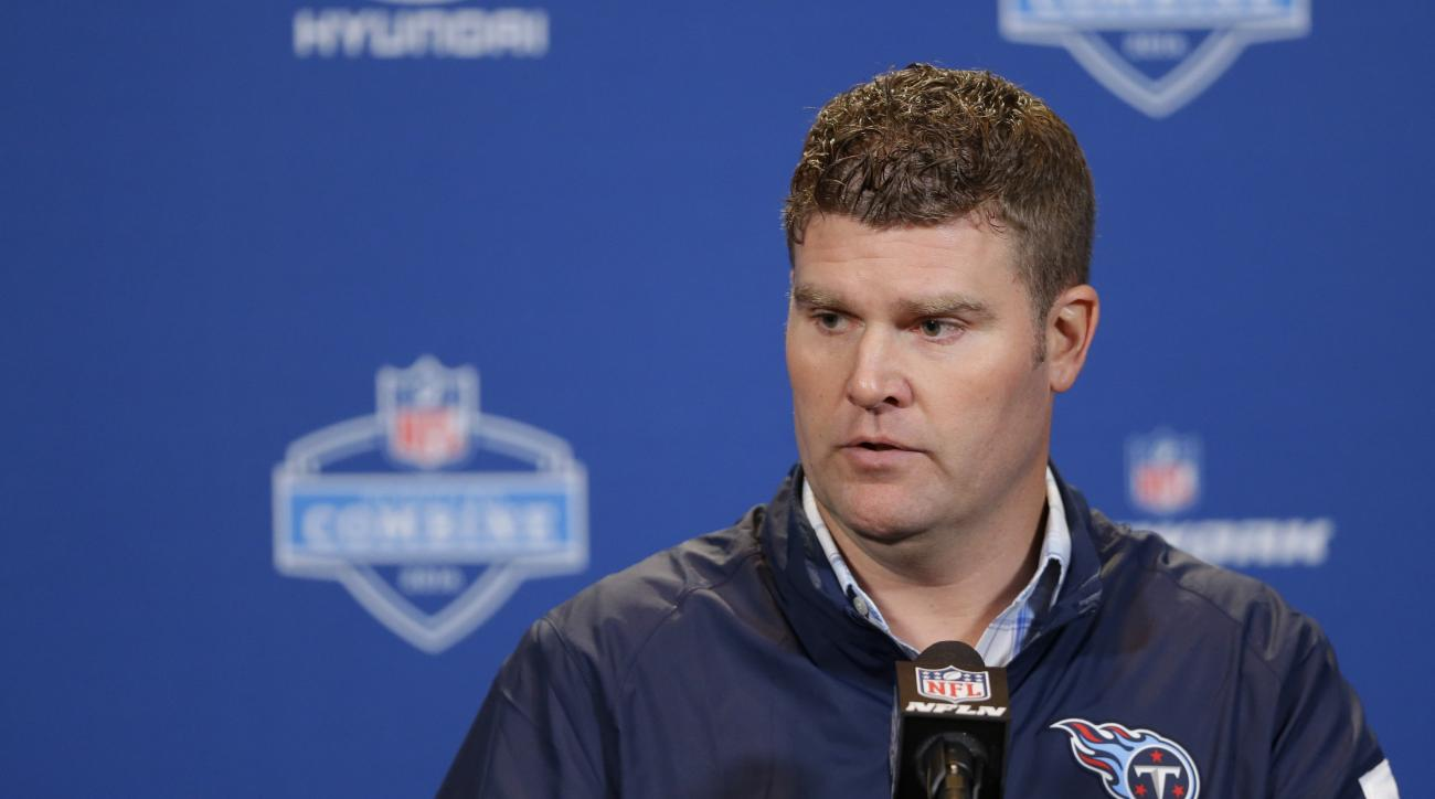 Tennessee Titans general manager Jon Robinson speaks during a press conference at the NFL football scouting combine in Indianapolis, Wednesday, Feb. 24, 2016. (AP Photo/Michael Conroy)
